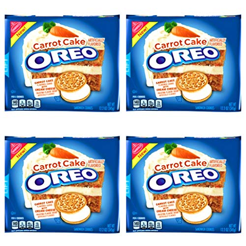 Oreo Carrot Cake Sandwich Cookies - Pack of 4 Bags - Carrot Cake Flavored Oreo With Cream Cheese Frosting Flavor Creme (Carrot Cake, 4 Bags) ()