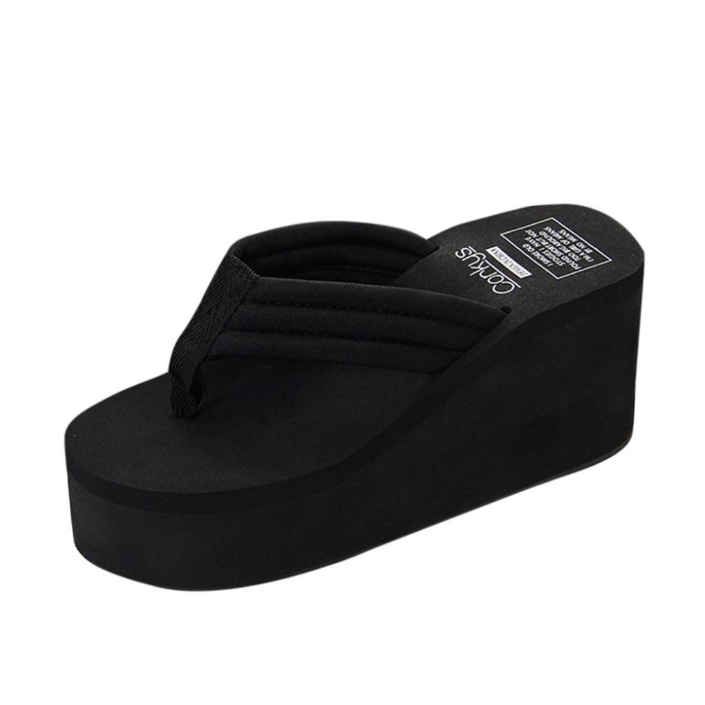 Familizo Femmes Chaussures à Semelles Compensées Été Slipsole, Sandales de Plage Slipper Sandales de Plage Slipper (37 EU Noir) Familizo❤️ sandales de plage femme