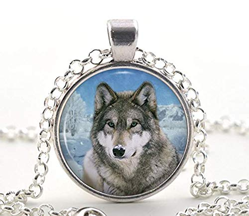 Wild Gray Wolf Necklace, Silver Photo Pendant, Snowy Arctic Art Jewelry Gift