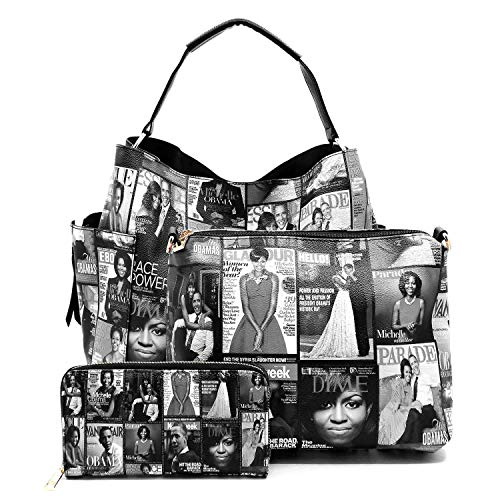 (Magazine Cover Collage Michelle Obama Printed Square Hobo bag + Crossbody purse + Wallet 3pcs Set (Non-Glossy-Grey))