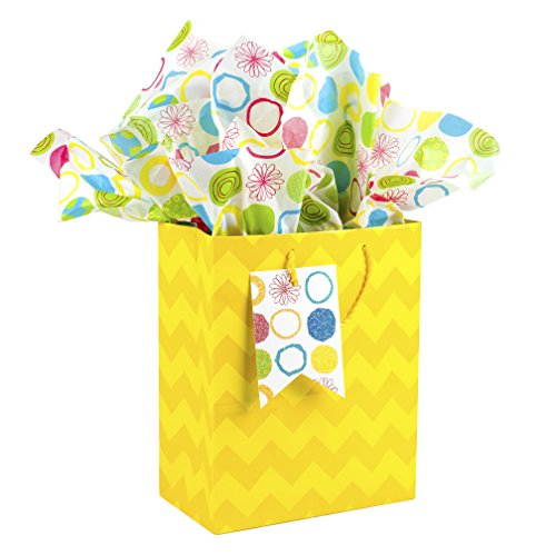 Hallmark Medium Gift Bag with Tissue Paper (Yellow Chevrons)