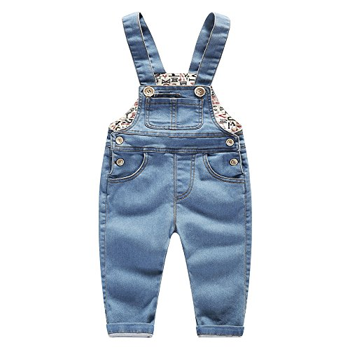 Kidscool Baby & Little Boys/Girls Stone Washed Big Bib Jeans Overalls,Blue,2-3 -