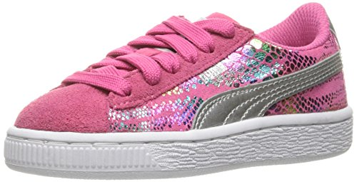 PUMA Suede Sport Lux Kids Sneaker (Little Kid), Fandango Pink/Puma Silver, 3 M US Little Kid