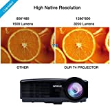 Projector, Video Projector HD 1080P Portable LED 3200 Lumens 1200X800 Home Theater Projector for Home Cinema /Video Games /Movie Night (Black)
