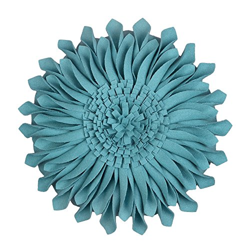 JW Handmade 3D Sun Flowers Accent Pillows Round Cushions for Home Sofa Car Office Chair Bed Decoration Wool Teal 12 Inch / 30 CM - Purple Teal Throw Pillows