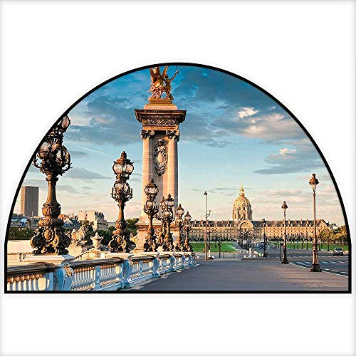 (Semicircle Area Rug Pont Alexandre Iii Bridge 1896 Spanning The River Seine Ornate Art Nouveau Lamps Indoor/Outdoor Semicircle Area Rug W31 x H20 INCH)