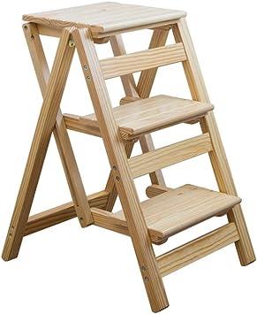 GFFTYX Escaleras Escalera de madera maciza de 3 escalones - Taburete plegable para el hogar Taburete de espiga Estante Soporte de flor Escalada interior Escalera pequeña Escalera pequeña Taburete con: Amazon.es: Bricolaje