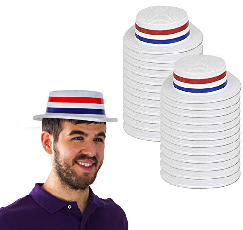 Funny Party Hats Skimmer Hat - Boater Hats - Patriotic Party Supplies - American Flag Hats - (24 Pack) by