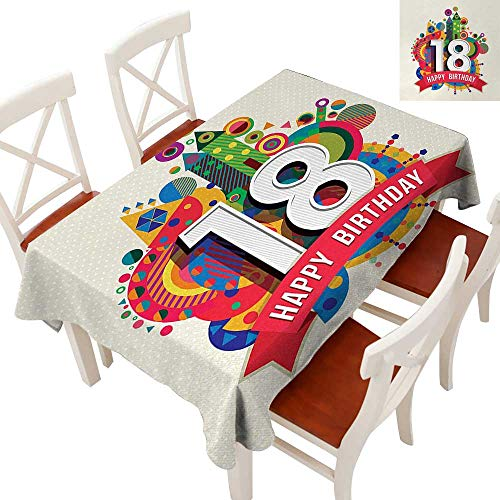 Rectangle Tablecloth Washable Polyester - Great for Buffet Table, Parties, Holiday Dinner, Wedding & More Colorful Geometric Stipes Dots Shapes Backdrop with Happy Birthday Quote Multicolor 60