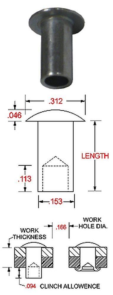 DF11-8-ST Pack of 100 Zinc Finish 5//32 x 1//4 Steel Semi-Tubular Rivet with a 5//16 Diameter Oval Head