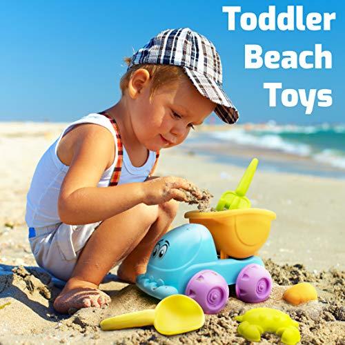 USA Toyz Beach Toys for Toddlers - 8pk Sandbox Toys for Kids with Dump Truck, Sea Animal Sand Molds, Beach Shovel, Sand Tools