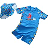Sunlunckystar Baby Boys Dinosaur Rush Guard One Piece Swimwear Swimsuit with Hat