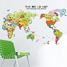 Ikeelife® Home Decorative Mural Removable Cartoon Animals The World Map Wall Sticker Educational Kids Nursery Children Bedroom Kindergarthen Wall Art Decal Paper 50*70cm / 19.7*27.58""