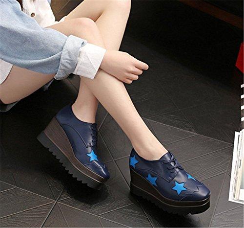 Cuir Femme Bleu wealsex de Chaussure Lacets Ville à Derby Plateforme qqX8w7zR