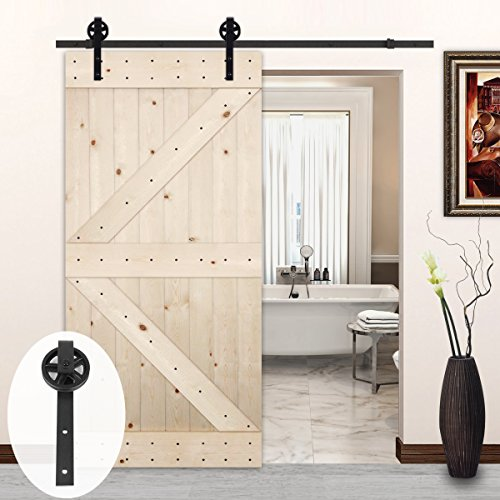 Pine Doors (LUBANN 42in.x 84in. Unfinished British Brace Knotty Pine Barn Door with 8 ft Sliding Door Hardware Kit (Big Wheel))