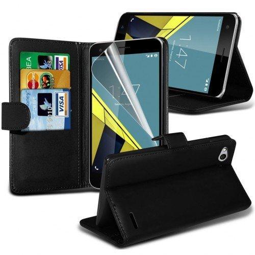 Vodafone Smart Ultra 6 Cubierta del caso con cuero (Negro) Plus de regalo libre, Protector de pantalla y un lápiz óptico, Solicitar ahora mejor caja del teléfono Valorado en Amazon! By FinestPhoneCase