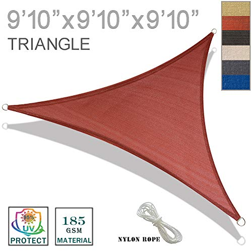 SUNNY GUARD 9'10'' x 9'10'' x 9'10'' Terra Triangle Sun Shade Sail UV Block for Outdoor Patio Garden