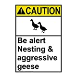 ComplianceSigns Vertical Aluminum ANSI CAUTION Be Alert Nesting & Aggressive Geese Sign, 14 x 10 in. with English Text and Symbol, White