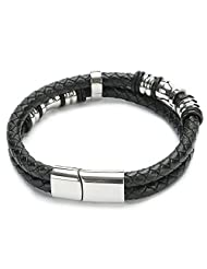UTOVME Tribal Fashion Genuine Leather Stainless Steel Magnetic Clasp Black Fabric Bracelet Bangle 8.5""
