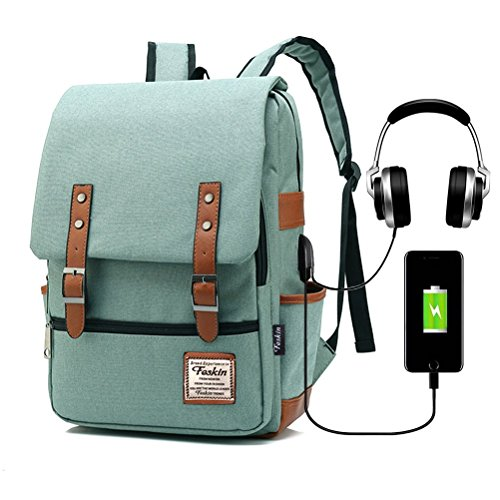 Vintage Laptop Backpack Women Men, School College Backpack USB Charging Port & Headphone Jack, Fashion Backpack Fits 15.6 inch Notebook - Green-Function Update