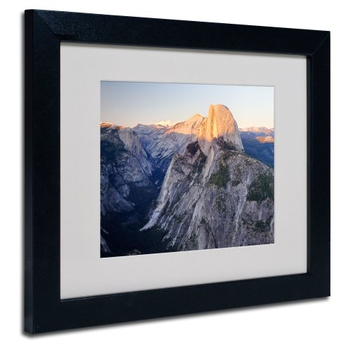 Dawn Framed Art - Half Dome Yosemite by Pierre Leclerc Canvas Wall Artwork, Black Frame, 11 by 14-Inch