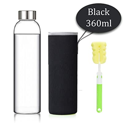 MIMINUO 360ml Portable Borosilicate verre Bouteille, Sport Bouteille, BPA Free