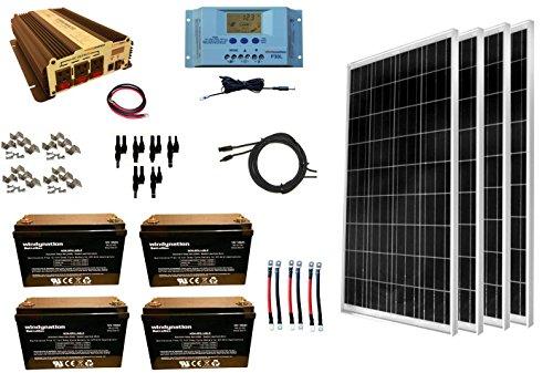 WindyNation 400 Watt (4pcs 100W) Solar Panel Kit + 1500 Watt VertaMax Power Inverter + AGM Battery Bank for RV, Boat, Cabin, Off-Grid 12 Volt Battery System Cabin Solar Systems