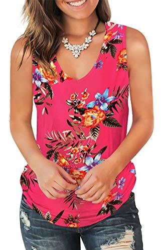 Jescakoo Flowy V Neck Tank Tops for Women Plus Size Sleeveless Shirts Lotus 2XL ()