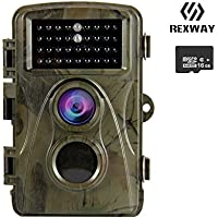 REXWAY Trail Camera for Hunting Game, 720P 12MP Night Version Cam, Waterproof and Low Glow Infrared with 16GB Memory Card (720P Camouflage)