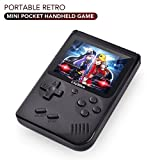 Jun Xiang Accessories Co., Mini Game Console, Portable Retro Handheld Game Player, 3 Inch 168 Classic Game Support TV Output Video Game Console with 1 USB Charge, Best Gift for Kids(Black)