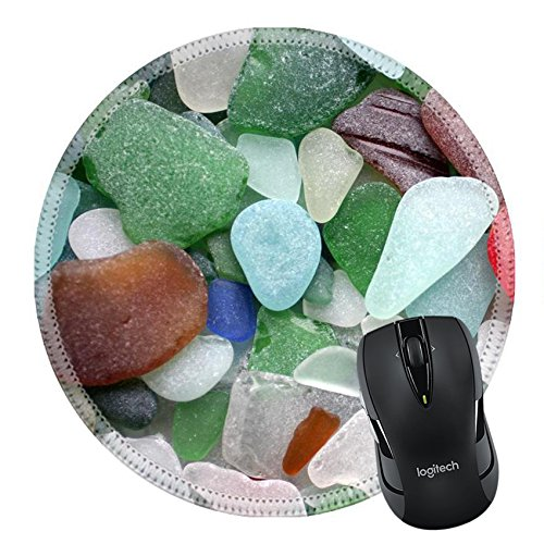 MSD Natural Rubber Mousepad Round Mouse Pad/Mat: 877683 Colorful matted glass stones from Baltic sea Lithuania