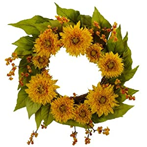 Nearly Natural 4904 Golden Sunflower Wreath, 22-Inch, Yellow 31