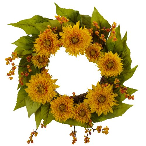 Nearly Natural 4904 Golden Sunflower Wreath, 22-Inch, Yellow