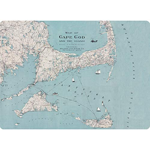 Cape Cod Dining - rockflowerpaper Cape Cod Nantucket Martha's Vineyard Blue Map Decorative Cork Back Hard Placemat Set of 4 in Gift Box