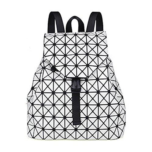 Uniqstore Unisex PU Leather Geometric Backpack Hologram School Bag Luminous Daypack Travel Shoulder Bag (Plata) Blanco