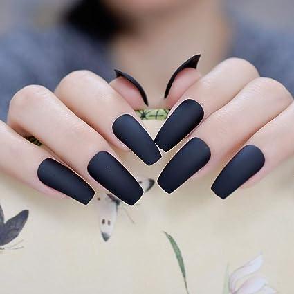 EchiQ - Uñas postizas para uñas postizas, color negro mate: Amazon ...