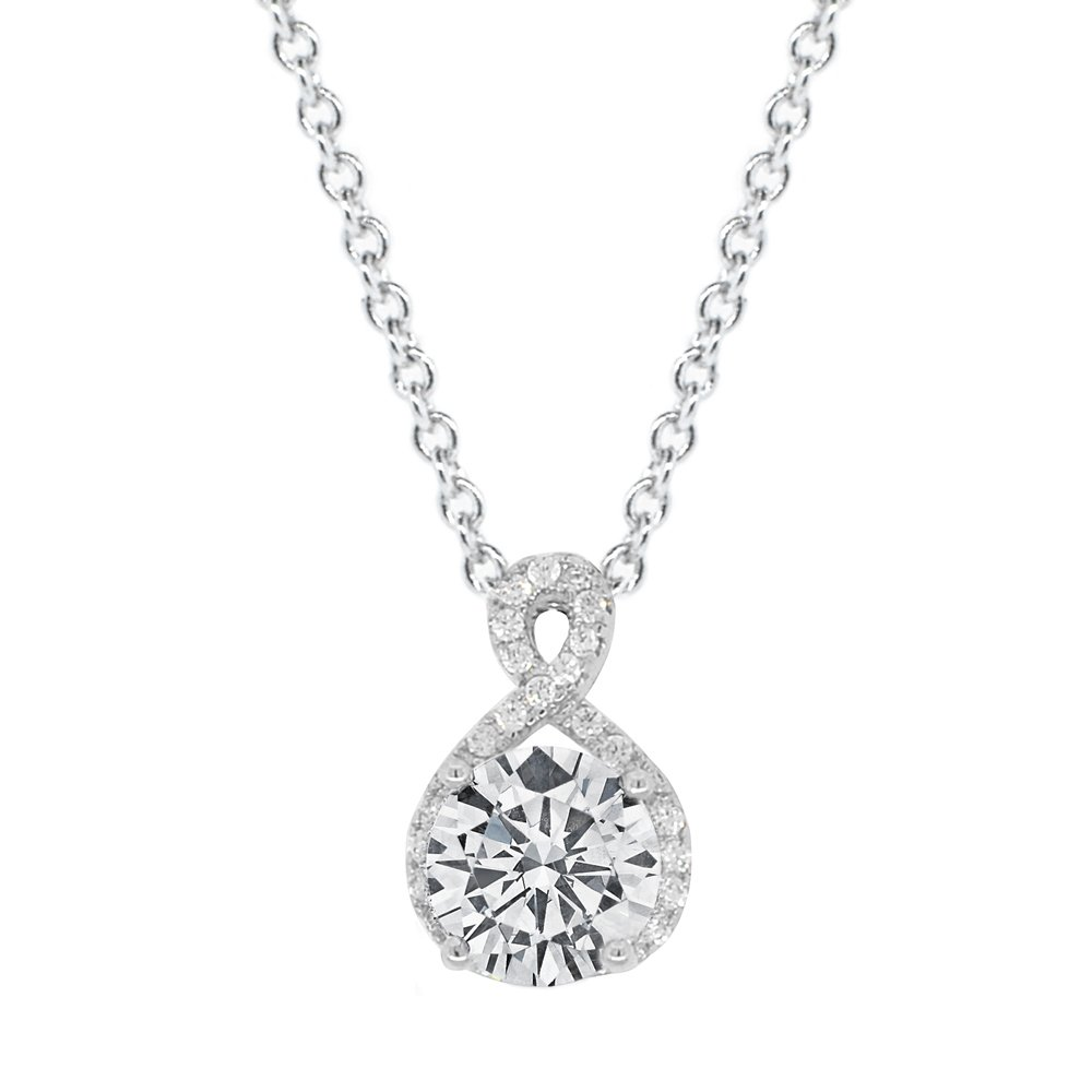 Cate & Chloe Amazon Day Prime 2018, Alessandra 18k White Gold CZ Halo Infinity Pendant Necklace, Best Round Diamond Solitaire Cubic Zirconia Crystal Silver Necklaces Special-Occasion Jewelry