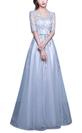 Callmelady Lace Evening Dresses For Women Formal Prom Gowns With Half Sleeves (Gray, UK4