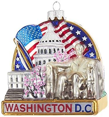 "Kurt Adler Kurt S. Adler 3.7"" Washington DC Cityscape Glass Ornament"