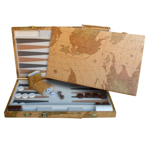 WE Games Map Design Backgammon Set - 18 Inch with Screen Printed Points