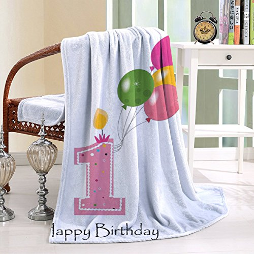 HAIXIA Blanket 1st Birthday Baby Girl Toddler Candle Colorful Balloons Light Pink and - Vero Beach Mall