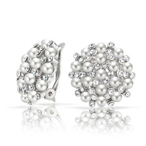 (Crystal Round Dome Simulated White Caviar Pearls Button Clip On Earrings For Women Silver Plated)