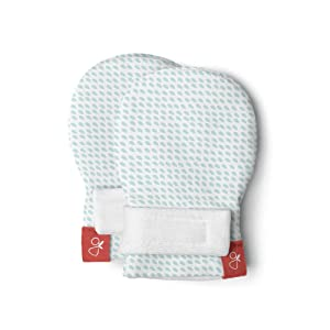 Goumimitts, Scratch Free Baby Mittens, Organic Soft Stay On Unisex Mittens, Stops Scratches and Prevents Germs (Preemie, Drops Aqua)