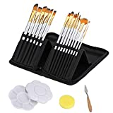 CADITEX Artist Paint Brush Set for Body Paint, Acrylics and Oil Paintings, 15 Different Shapes and Sizes with Free Painting Knife, Painting Palette and Watercolor Sponge (Gray)