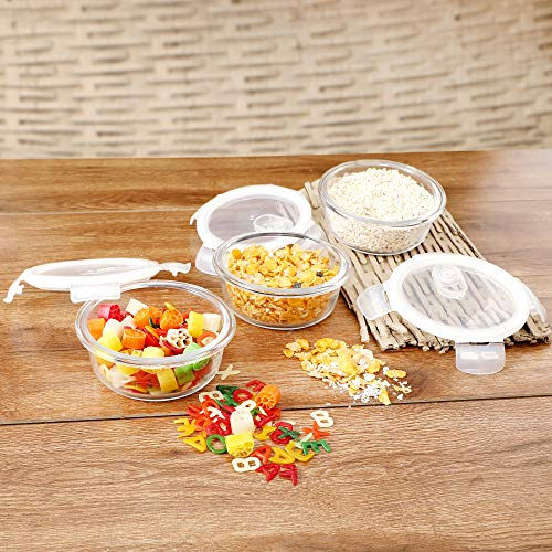 Cutting EDGE Borosilicate Safe Lock Round Glass Food Container with Lid (Set of 3, 240 ml) Price & Reviews