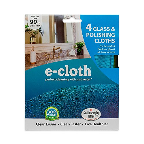 E-Cloth Glass & Polishing Cloth - Brilliant for Sparkling Windows, Mirrors, Glassware, Chrome, and More - Includes 1 Each of Blue, Yellow, Green, Pink - 4 ()
