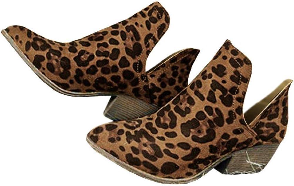 Women Leopard Low Block Heel Ankle Boots Chelsea Zipper Booties Shoes Size 4-7