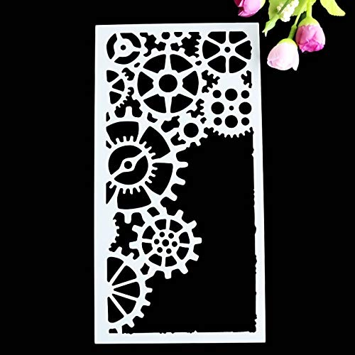 Cake Stencil - Gear Wedding Cake Stencil Set Metal Parts Craft Fondant Stencils Decorating Embossing Template - Damask Numbers Hello Airbrushing Tree Flower Airbrush Happy Kitty Round Unknown