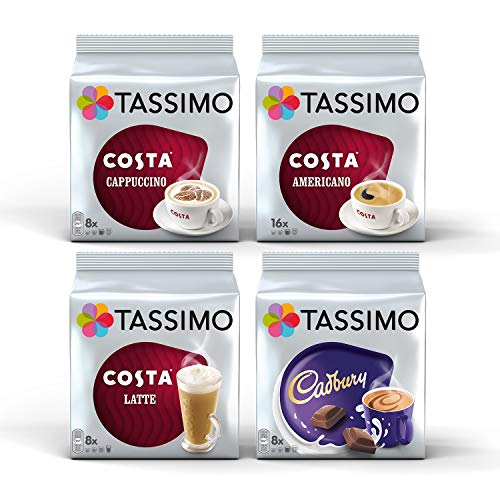 Tassimo Costa Cappuccino//Latte/Americano/Cadbury X 4 Packs Set = 40 Drinks