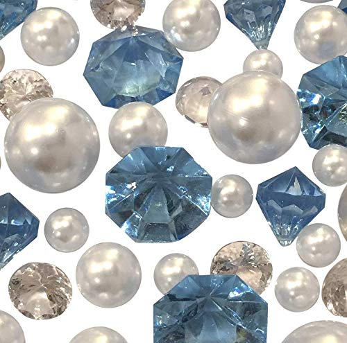 (120 No Hole Baby Blue Gems & White Pearls- Jumbo/Assorted Sizes Vase Decorations and Table Scatter - to Float The Pearls Order The Floating Packs from The Options Below )